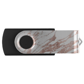 Chic Elegant White and Rose Gold Marble Pattern USB Flash Drive