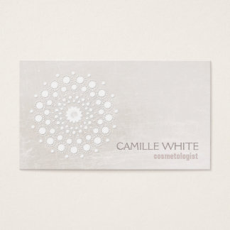 Chic Elegant White Circle Logo White Cosmetologist Business Card