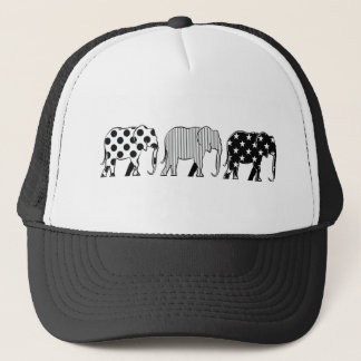 Chic Elephants Black White Dots Stripes Stars Cool Trucker Hat