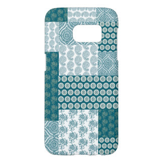 Chic Ethnic Faux Patchwork Pattern, Teal and White