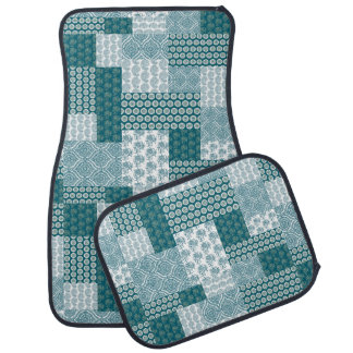 Chic Ethnic Faux Patchwork Pattern, Teal and White Car Mat