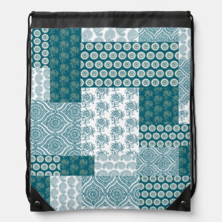 Chic Ethnic Faux Patchwork Pattern, Teal and White Drawstring Bag