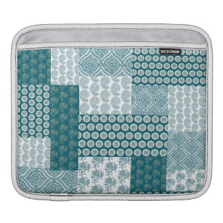 Chic Ethnic Faux Patchwork Pattern, Teal and White iPad Sleeves
