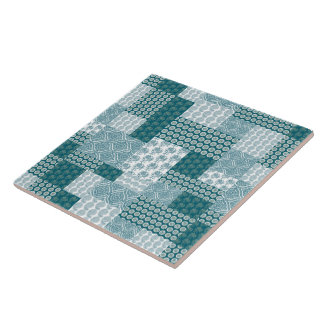 Chic Ethnic Faux Patchwork Pattern, Teal and White Large Square Tile