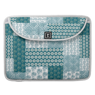 Chic Ethnic Faux Patchwork Pattern, Teal and White MacBook Pro Sleeve