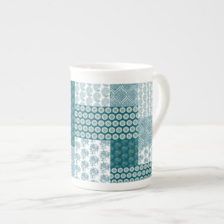 Chic Ethnic Faux Patchwork Pattern, Teal and White Tea Cup