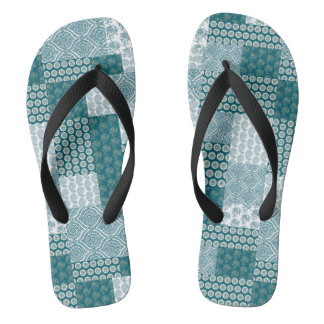 Chic Ethnic Faux Patchwork Pattern, Teal and White Thongs