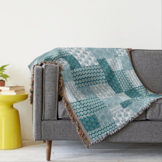 Chic Ethnic Faux Patchwork Pattern, Teal and White Throw Blanket