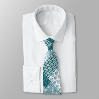 Chic Ethnic Faux Patchwork Pattern, Teal and White Tie