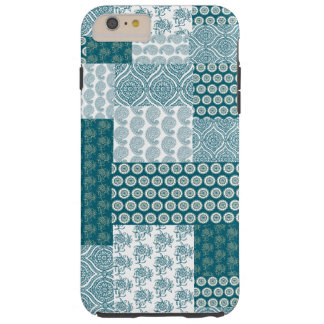 Chic Ethnic Faux Patchwork Pattern, Teal and White Tough iPhone 6 Plus Case