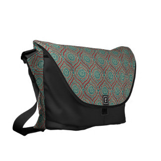 Chic Ethnic Ogee Pattern in Maroon, Teal and Beige Commuter Bags