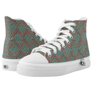 Chic Ethnic Ogee Pattern in Maroon, Teal and Beige High Tops