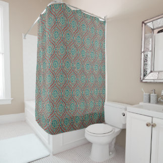 Chic Ethnic Ogee Pattern in Maroon, Teal and Beige Shower Curtain