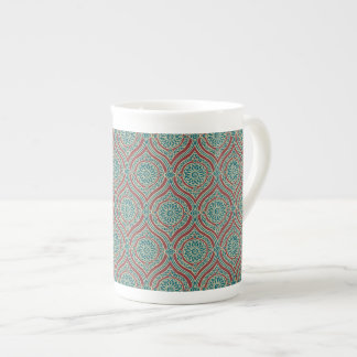Chic Ethnic Ogee Pattern in Maroon, Teal and Beige Tea Cup