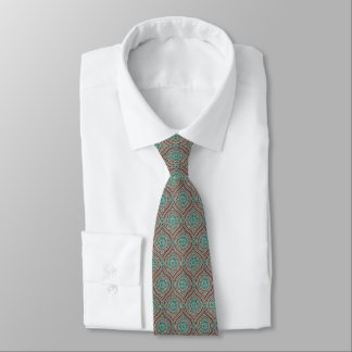Chic Ethnic Ogee Pattern in Maroon, Teal and Beige Tie