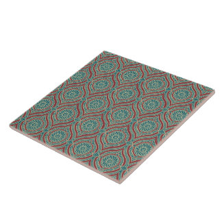 Chic Ethnic Ogee Pattern in Maroon, Teal and Beige Tile