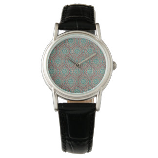 Chic Ethnic Ogee Pattern in Maroon, Teal and Beige Watch