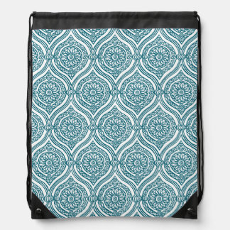 Chic Ethnic Ogee Pattern in Teal on White Drawstring Bag