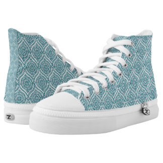 Chic Ethnic Ogee Pattern in Teal on White High Tops
