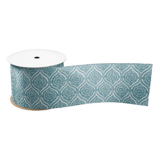 Chic Ethnic Ogee Pattern in Teal on White Satin Ribbon