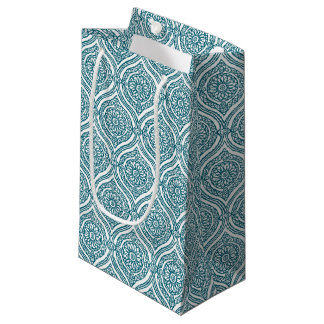 Chic Ethnic Ogee Pattern in Teal on White Small Gift Bag