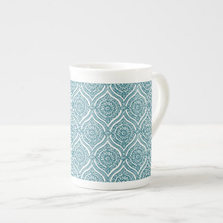 Chic Ethnic Ogee Pattern in Teal on White Tea Cup