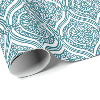 Chic Ethnic Ogee Pattern in Teal on White Wrapping Paper