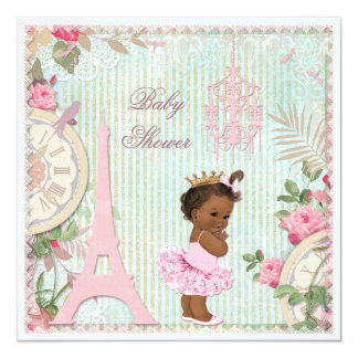 Chic Ethnic Paris Princess in Tutu Baby Shower 5.25x5.25 Square Paper Invitation Card