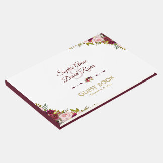 Chic Fall Marsala Floral Burgundy Wedding Guest Book