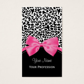 Chic Fashion Leopard Print With Hot Pink Ribbon