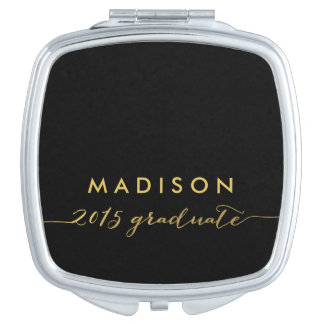 Chic Faux Gold Foil | 2015 Graduate Compact Mirror For Makeup