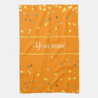 Chic Faux Gold Foil Confetti Orange Kitchen Towel