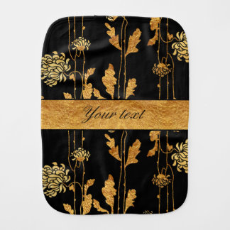 Chic Faux Gold Foil Flowers on Black Baby Burp Cloth