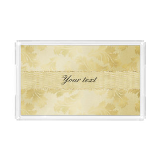 Chic Faux Gold Foil Leaves and Glitter