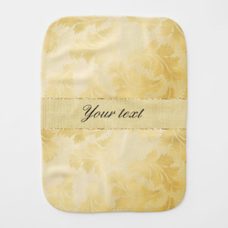 Chic Faux Gold Foil Leaves and Glitter Baby Burp Cloths