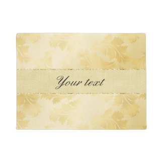 Chic Faux Gold Foil Leaves and Glitter Doormat