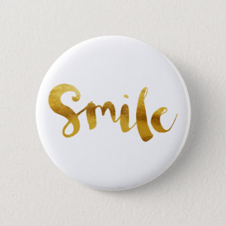 Chic Faux Gold Foil Smile 6 Cm Round Badge