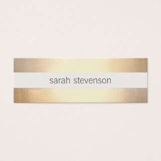 Chic Faux Gold Foil Striped Modern Mini Business Card
