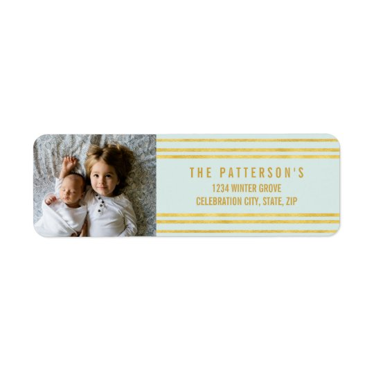 Chic Faux Gold foil Stripes Light Blue Photo Return Address Label