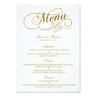 Chic Faux Gold Foil Wedding Menu Template 11 Cm X 16 Cm Invitation Card