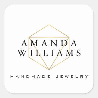 Chic Faux Gold Gemstone Jewelry Designer White Square Sticker