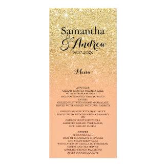 Chic faux gold glitter coral wedding menu custom rack card