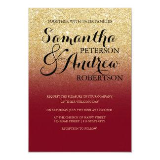 Chic faux gold glitter custom burgundy wedding 13 cm x 18 cm invitation card