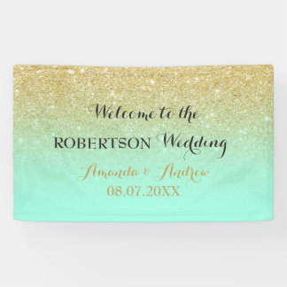 Chic faux gold glitter mint green wedding banner