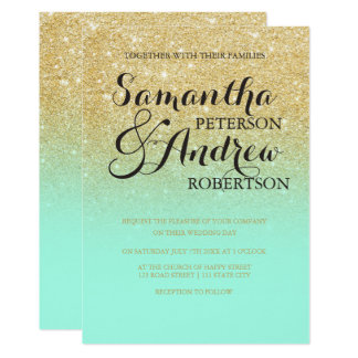 Chic faux gold glitter mint green wedding card