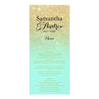 Chic faux gold glitter mint green wedding menu 10 cm x 23 cm rack card
