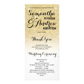 Chic faux gold glitter ombre Wedding Program Full Colour Rack Card