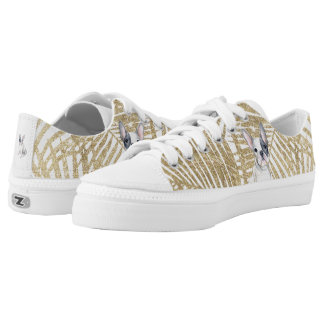 Chic faux gold glitter palm tree french bulldog low tops