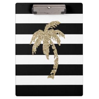 Chic Faux Gold Glitter Palm Tree Striped Clipboard