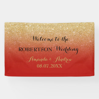 Chic faux gold glitter red wedding banner